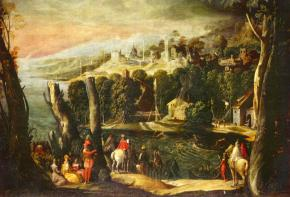Пейзаж с дамами и всадниками