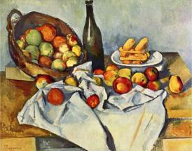Натюрморт с бутылкой и корзиной с яблоками