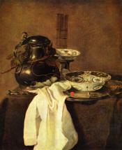 Натюрморт с оловянным кувшином и двумя фарфоровыми блюдами